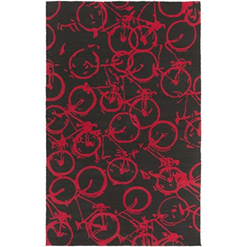 9' x 12' On The Go Bicycle Cherry Red and Jet Black Hand Hooked Area Throw Rug - 12' Black Cherry