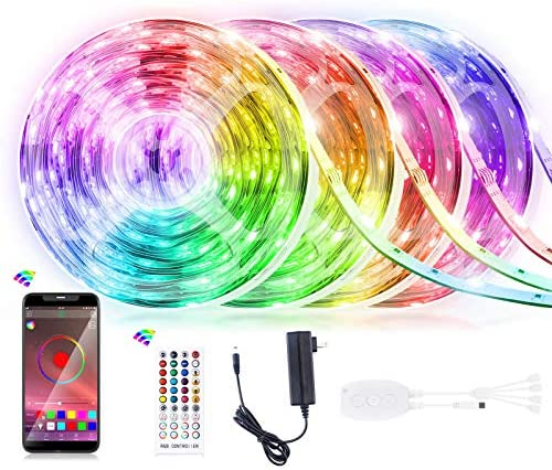 65.6FT LED Strip Lights, Homiar Smart 5050 RGB Light Strips, 360LEDs Color Changing Tape Lights, Music Sync Rope Lights Kit with 40 Keys IR Remote Control for Party Home Holiday Decoration - 4 Pack