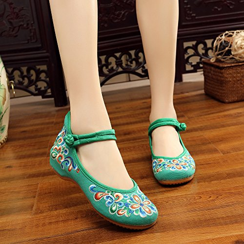 Scarpe moda stile comodo ricamate a new donna green etnico LTQ casual dell'aumento da all'interno tendina amp;QING scarpe suola 1UEwf77Fq