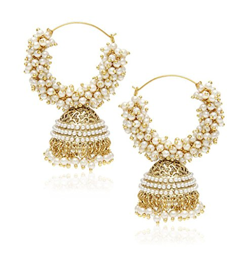 - YouBella Ethnic Jewelry Bollywood Traditional Indian Pearl Jhumki Earrings for Women and Girls