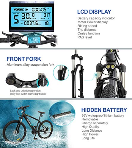 HOTEBIKE 36V 350w Ebike Electric Bike 26 E Bikes for Adults Aluminum Alloy Mountain Bicycle with 21 Speed Shift Removable Hidden Battery 160 disc Brake