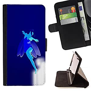 BullDog Case - FOR/Apple Iphone 6 PLUS 5.5 / - / Blue Flying Fairy /- Monedero de cuero de la PU Llevar cubierta de la caja con el ID Credit Card Slots Flip funda de cuer