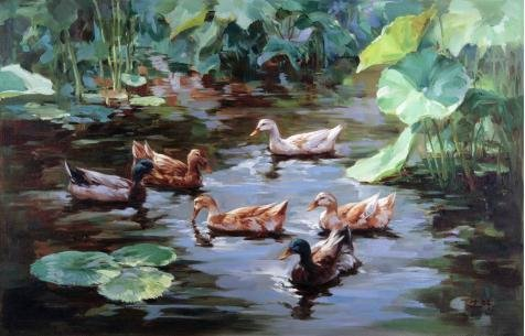Oil Painting 'Mandarin Ducks Swimming In The Lotus Pond', 20 x 31 inch / 51 x 79 cm , on High Definition HD canvas prints is for Gifts And Basement, Dining Room And Nursery Decoration