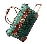 Samantha Brown Classic Croco-Embossed Wheeled Weekender Bag - Seaglass Green