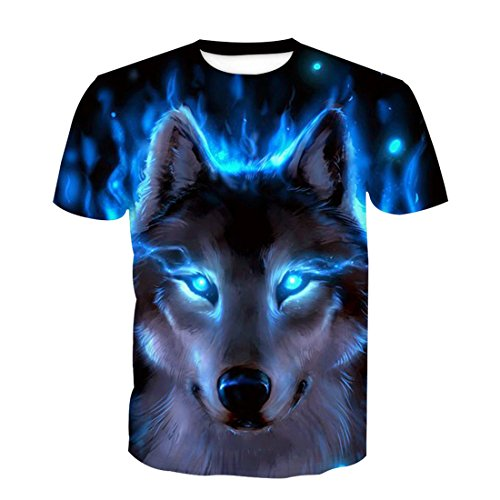 (SEVENWELL Men's 3D Pattern Printed Short Sleeve T-Shirts Casual Graphics Tees Funny Print Shirts Blue Wolf XL)