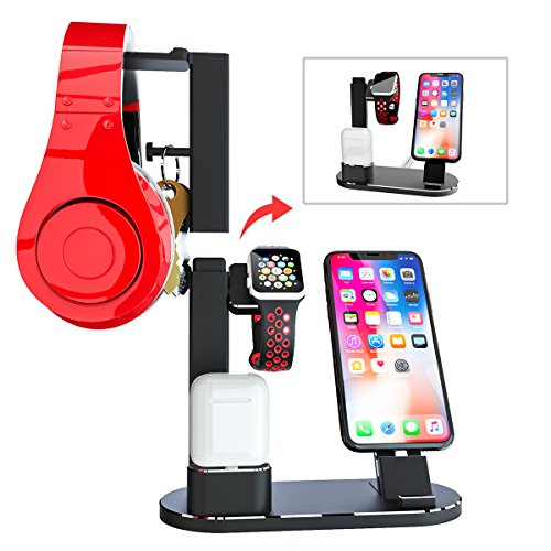 Samsung Galaxy S9 S8 and Headphones Stand Holder Airpods,iPhone 11 11 Pro X Xs XR Max 8 Plus 8 AODUKE Wireless Charger Stand,4 in 1 Wireless Charging Station Dock Compatible with iWatch 5 4 3 2 1