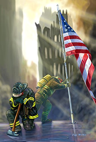 Toland Home Garden American Heroes 28 x 40 Inch Decorative Patriotic September 11 Firefighter USA House ()