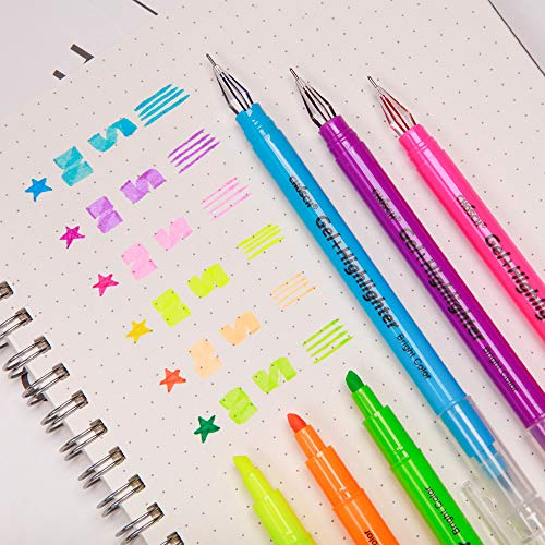 (CHoSCH Highlighter And Gel Pen 2 In 1 Combo Pen Pack, 6 Color Bright Highlighter And 6 Diamond Tip Gel Pen, Dual Tips 2 Features For Your Writing, 6-count)
