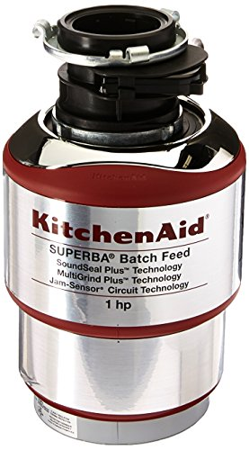 KitchenAid KBDS100T 1 hp Batch Feed Food Waste Disposer, Silver