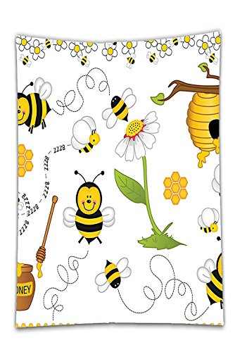 Interestlee Satin drill Tablecloth?Collage Decor Flying Bees Daisy Honey Chamomile Flowers Pollen Spring Themed Animal Print Yellow White Dining Room Kitchen Rectangular Table Cover Home Decor