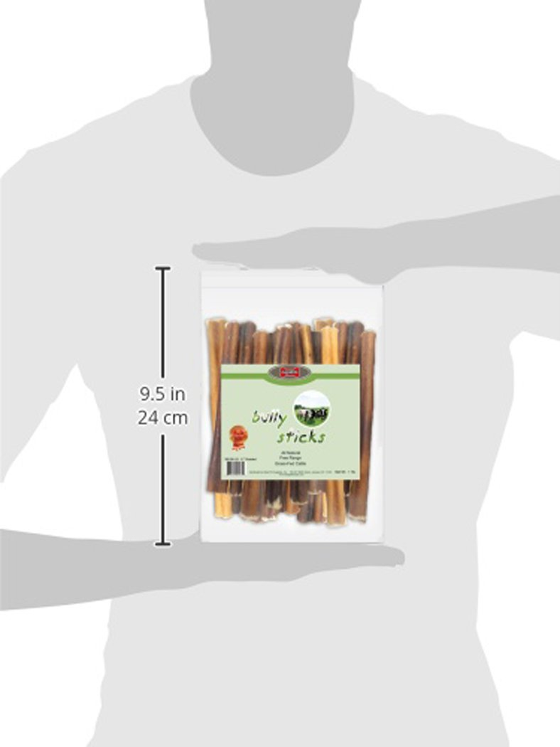 GigaBite 6 Inch Odor-Free Bully Sticks 1-Pound USDA FDA Certified All Natural, Free Range Beef Pizzle Dog Treat By Best Pet Supplies