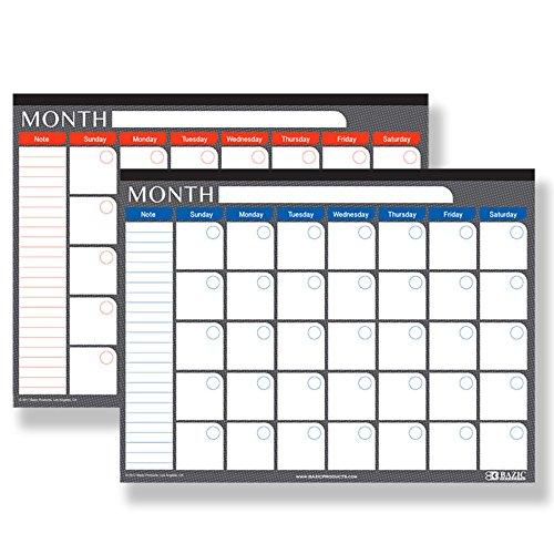 Bazic 17 x 22 inches Undated 12-Months Desk Pad Calendar, Case of 24