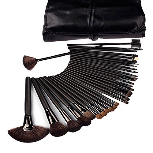 DragonPad 32 Pcs Black Rod Makeup Brush Cosmetic Set Kit with Case
