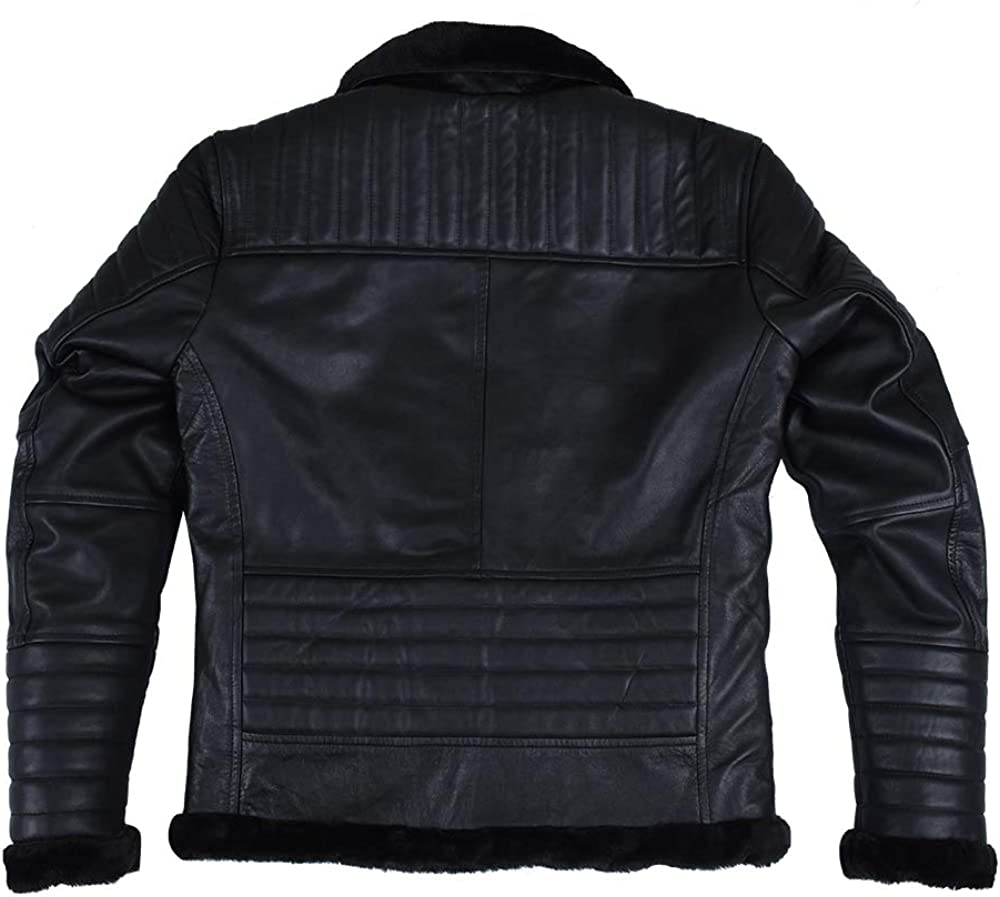 The Black Aviator RAF Quilted Black Artificial Shearling Real Leather Bomber Jacket for Men/'s