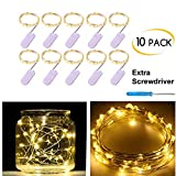 Pack of 10 LED Starry String Lights CR2032 Battery Operated, 20 Micro Warm White Fairy LEDs on 3.5ft Silver Coated Copper Wire