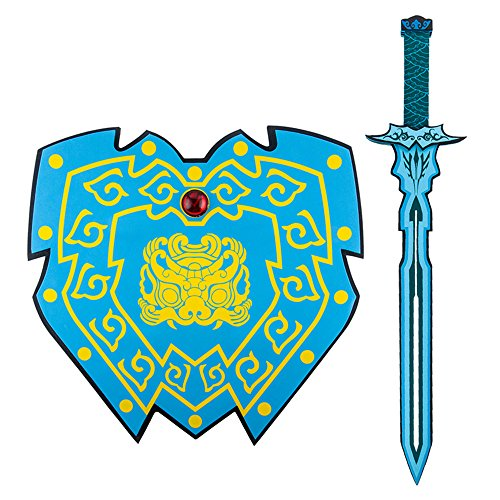 Mekarsoo Weapons Toy Set, Foam Sword Shield, Children Foam Toys Creative Pretend Play Set Gifts/Adventure Party/Halloween (Blue Sword & Shield)]()
