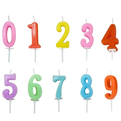 Bousg Colorful Number Birthday CandleNumerals 0 9 Multicolor Happy Candles3