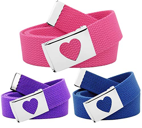 Girl's School Uniform 3 Pack Silver Flip Top Heart Belt Buckle Canvas Web Belt Medium Purple, Blue Pink