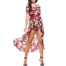 Meaneor Women Off Shoulder Multicolor Floral Maxi Overplay Romper Jumpsuit Dress
