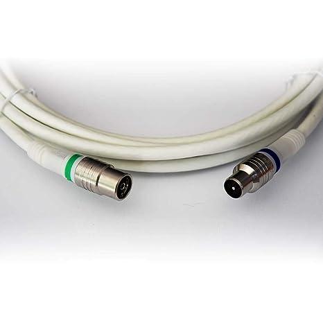 Technetix - Cable coaxial IEC Macho a IEC Hembra Recto (5 m ...