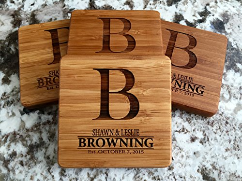 Personalized Wedding Gifts and Bridal Shower Gifts - Monogram Wood Coasters for Drinks (Set of 4, Browning Design)