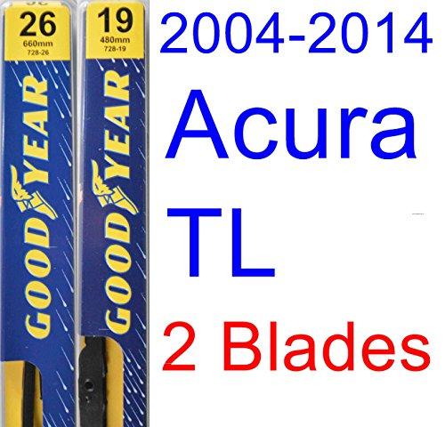 2004-2014 Acura TL Replacement Wiper Blade Set/Kit (Set of 2 Blades) (Goodyear Wiper Blades-Premium) (2005,2006,2007,2008,2009,2010,2011,2012,2013)