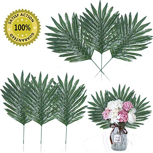 Linkhome 32 Pcs Artificial Tropical Palm Leaves with Stems Luau Party Decoration Faux Palm Leaves Safari Leaves for Hawaiian Luau Party Jungle Beach Birthday Theme -