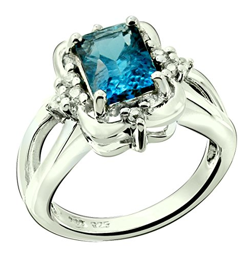 Topaz Zircon Ring (RB Gems Sterling Silver 925 Ring GENUINE GEMSTONE Octagon 8x6 mm, RHODIUM-PLATED Finish, Solitaire Style (6, london-blue-topaz))