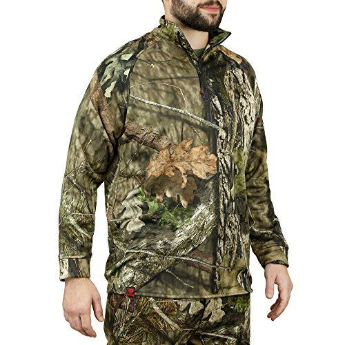 Mossy Oak Quarter Zip Hunting Jacket for Men, Pullover Hunting Jacket