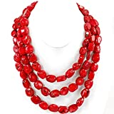 3 strands Red Sea Coral Huge Necklace for gift ideas 20-22''N17050413j