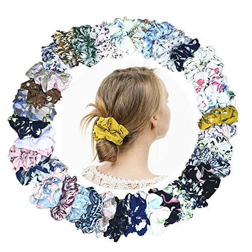 Janisfirst 36Pcs Premium Korean Hair Scrunchies, Women's Chiffon Flower Elastic Hair Scrunchies Hair Bow Chiffon Ponytail Holder Scrunchies, Hair Bands Ties for Women Girls