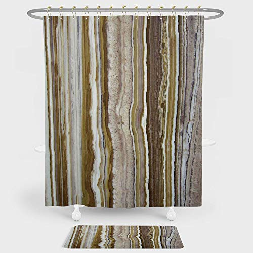 - Apartment Decor Shower Curtain And Floor Mat Combination Set Onyx Marble Rock Themed Vertical Lines and Blurry Stripes in Earth Color For decoration and daily use Mustard Brown