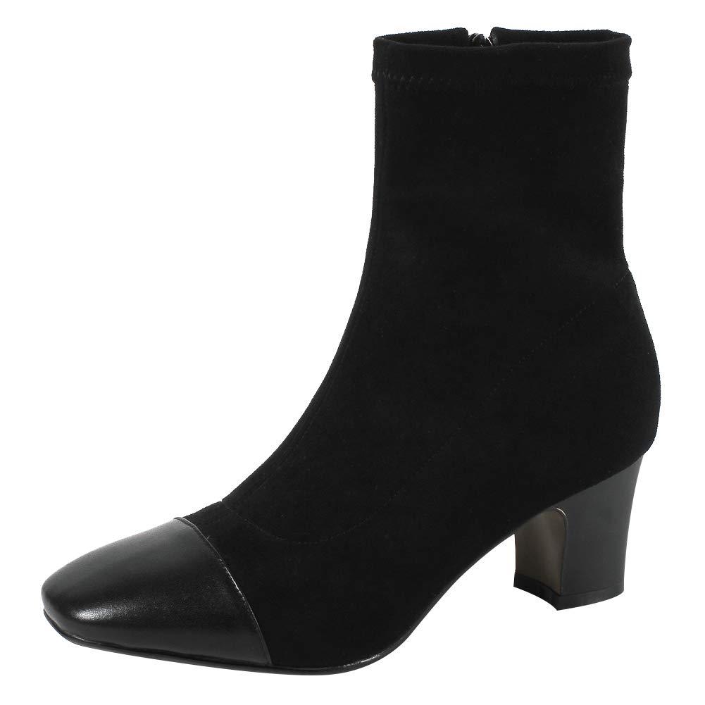 Jamron Damen Elegant Quadrat Kappe Zehe Blockabsatz Hoch Stiefeletten Frauen Modisch Herbst Stiefel
