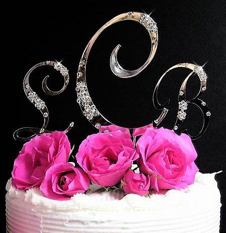 Scattered Rhinestone Silver Monogram Wedding Cake Topper