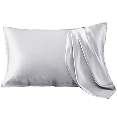 YANIBEST Silk Pillowcase for Hair and Skin, 19 Momme 100% Pure Natural Mulberry Silk Pillowcase King Queen Standard Size, Pillow Cases Cover with Hidden Zipper (Standard, Grey)