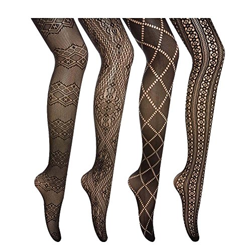 Women 4 Pairs Patterned Fishnet Tights/Black Pantyhose -