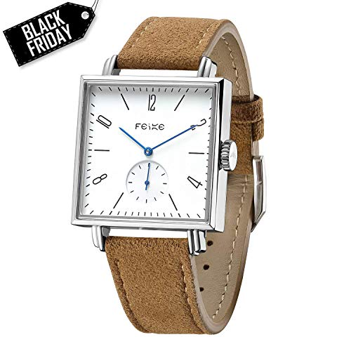 FEICE Bauhaus Watch Men's Automatic Watch Minimalist Square Wrist Watch Stainless Steel Leather Bands Sapphire Mirror Mechanical Watches for Women Unisex #FM301 (Brown)