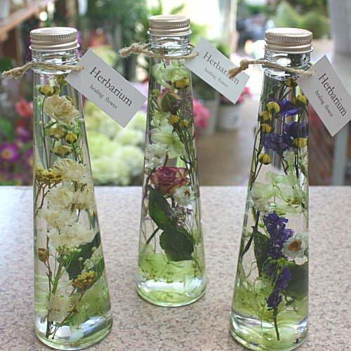 瓶の中におとじ込められたおしゃれな花と液体 「ハーバリウム」 円錐瓶タイプ お祝い 誕生日プレゼントやインテリアに癒やしの空間 (3本セット) B07CN6BW2P