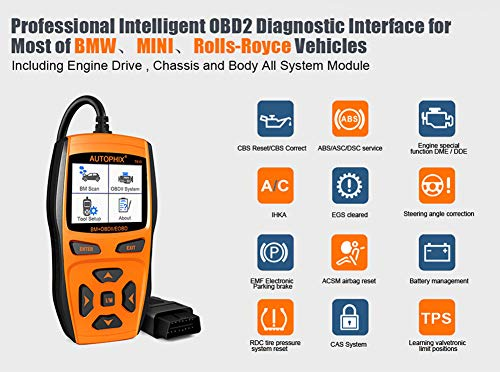 Scan Tool Automotive Scanner for BMW,AUTOPHIX 7810 Code Reader OBD2 Scanner/All System Car Diagnostic Scanner with Engine/EPB/SAS/EGS/DME/DDE/CBS/ECU/F Chassis Reset BMW Battery Registration Tool by AUTOPHIX (Image #2)