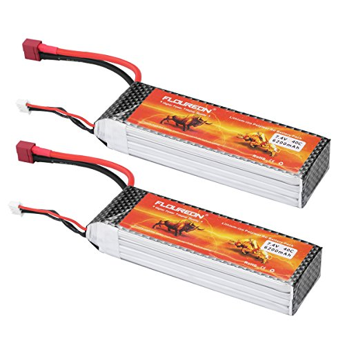 Floureon 2 Packs 40C 2S 6200mAh 7.4V Lipo Battery with Deans Connector for RC Airplane Helicopter Hobby (5.35 x 1.65 x 0.94 Inch)