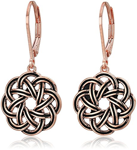 - 14k Rose Gold Plated Sterling Silver Celtic Knot Leverback Dangle Earrings