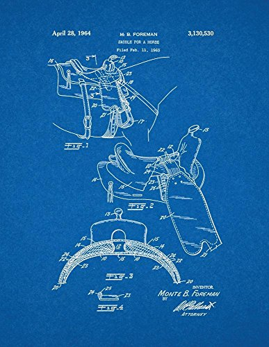 Horse Saddle Art (Horse Saddle Patent Print Art Poster Blueprint (8.5