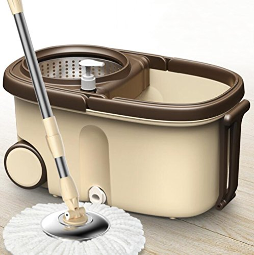 - KIMSAI Mop Bucket 360° Rotation Superfine Fiber Dual Driver Mop Dehydration Hand Pressure Stainless Steel Composite Pipe Mop Bucket Brown