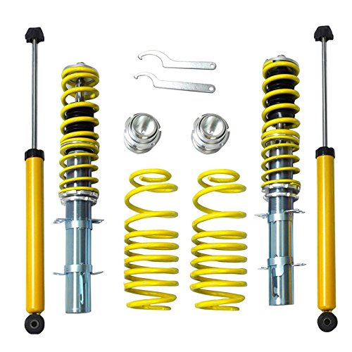 Vw Jetta Coilovers - RSK Street Coilover Kit for 1999-2005 Coil Sprongs Volkswagen VW MK4 Golf Jetta GTI New Beetle (Yellow)