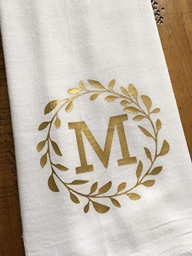Monogrammed Kitchen Towel Gold Personalized Laurel Monogram