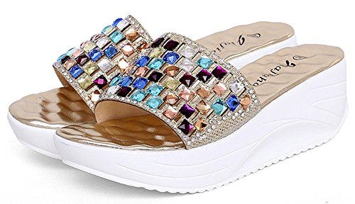 Aisun Femme Mules Strass Mode Bout Or Ouvert rPOrTwnq