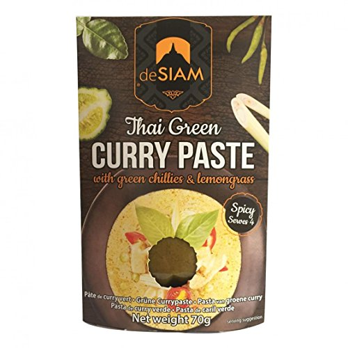 DE SIAM Thai Green Curry Paste with green chillies & lemongrass – Spicy Serves 4 (70 g.) – Easy Cooking Curry Recipe - Fresh Green Curry Paste Ingredients from Thailand