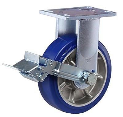 "FOOTMASTER GF-200B-RF-MUD 8"" Diameter High Quality Polyurethane Top Plate Caster, Rigid with Wheel Brake, Dual HD Precision Bearing, 10-1/8"" Mounting Height, 6-1/4"" Plate Length, 4-1/2"" Plate Width, 1875 lb Capacity Range"