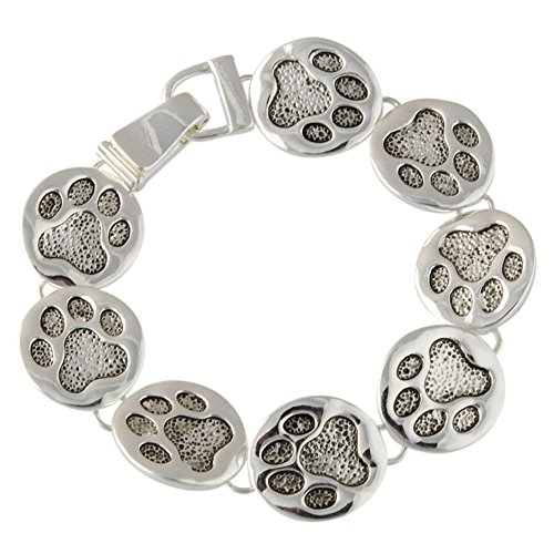 Heirloom Finds Animal Rescue Dog Lover Paw Print Bracelet in Silver Tone 7 1/2