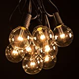 50 Foot LED Warm White Outdoor Globe Patio String Lights - Set of 50 LED G50 Clear 2 Inch Bulbs with Black Cord